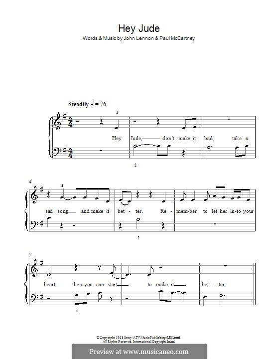 Hey Jude (The Beatles), for Piano: With lyrics by John Lennon, Paul McCartney