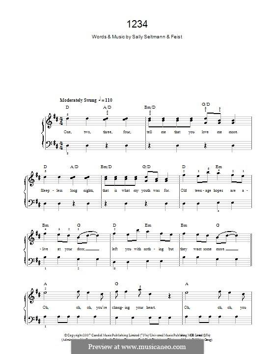 1234: Einfache Noten für Klavier by Leslie Feist, Sally Seltmann