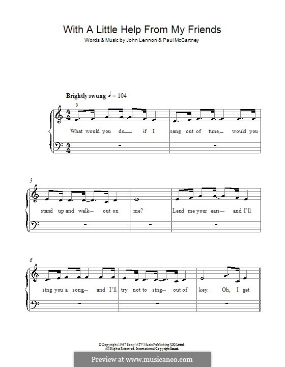 With a Little Help from My Friends (The Beatles): Für Klavier, leicht by John Lennon, Paul McCartney