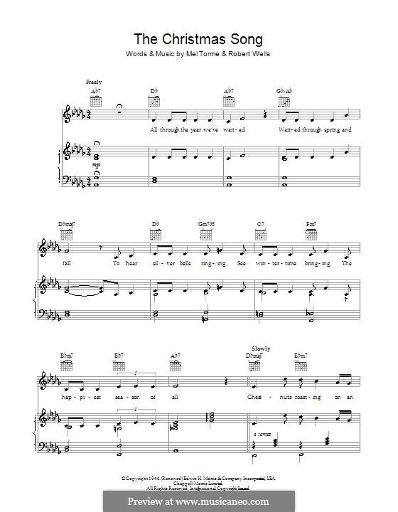 The Christmas Song (Chestnuts Roasting on an Open Fire): Für Stimme mit Klavier oder Gitarre (Bob Dylan) by Mel Tormé, Robert Wells