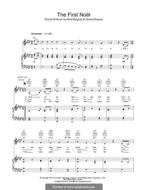 The First Nowell (The First Noël), Printable scores: Für Stimme und Klavier oder Gitarre (Noten von hohem Qualität) by folklore