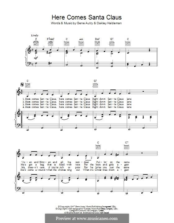 Here Comes Santa Claus (Right Down Santa Claus Lane): Für Stimme mit Klavier oder Gitarre (Bob Dylan) by Gene Autry, Oakley Haldeman