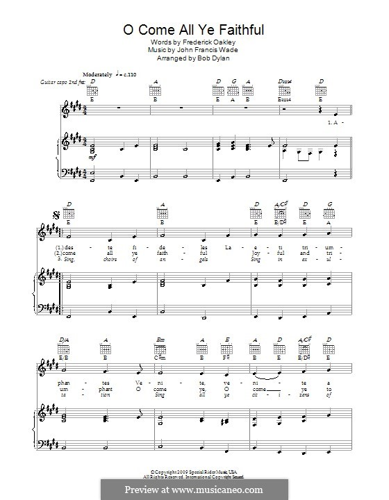 O Come, All Ye Faithful (Printable Scores): Für Stimme mit Klavier oder Gitarre (Bob Dylan) by John Francis Wade