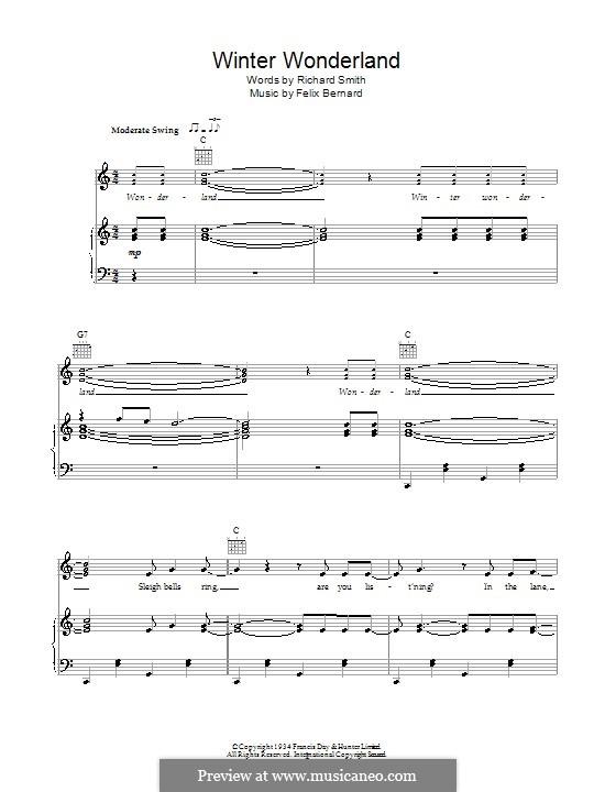 Winter Wonderland: Für Stimme mit Klavier oder Gitarre (Bob Dylan) by Felix Bernard