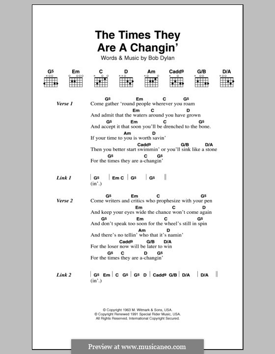 The Times They Are A-Changin': Text und Akkorde by Bob Dylan