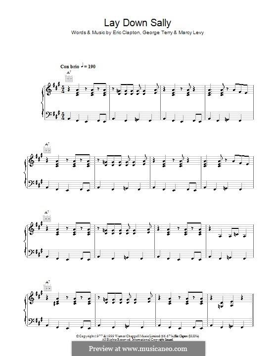 Lay Down Sally: Für Stimme und Klavier (oder Gitarre) by George Terry, Marcy Levy