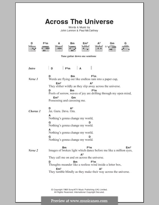 Across the Universe (The Beatles): Text und Akkorde by John Lennon, Paul McCartney