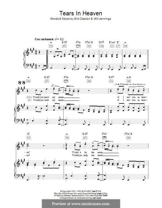Tears in Heaven: Für Stimme und Klavier oder Gitarre (Noten von hohem Qualität) by Eric Clapton, Will Jennings