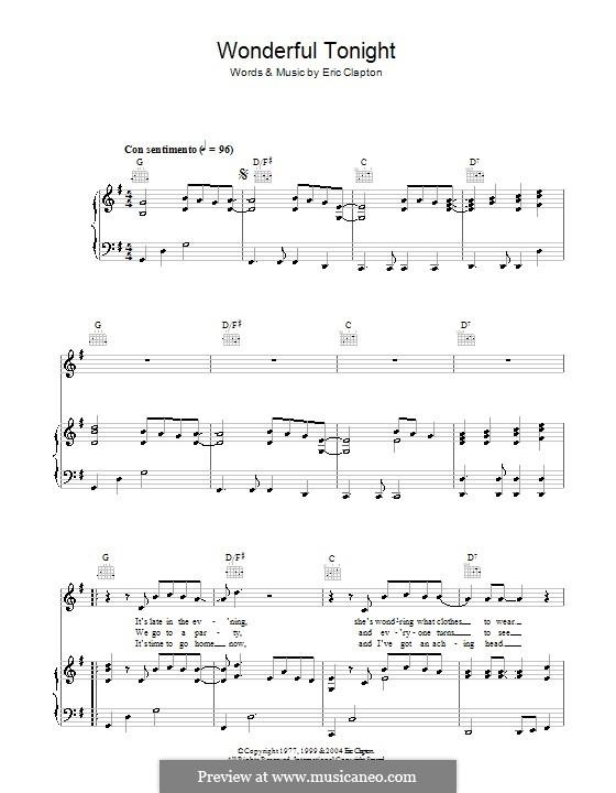Wonderful Tonight: Für Stimme und Klavier (oder Gitarre) by Eric Clapton