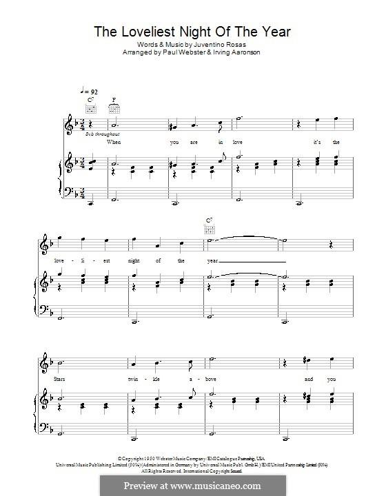 The Loveliest Night of the Year: Für Stimme und Klavier (oder Gitarre) by Juventino Rosas