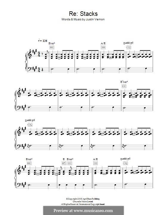 Re: Stacks (Bon Iver): Für Stimme und Klavier (oder Gitarre) by Justin Vernon