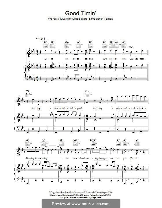 Good Timin' (Jimmy Jones): Für Stimme und Klavier (oder Gitarre) by Clint Ballard, Frederick Tobias