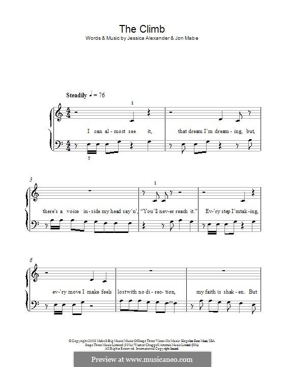 The Climb: Für Klavier (leicht, mit Text) by Jessi Alexander, Jon Mabe