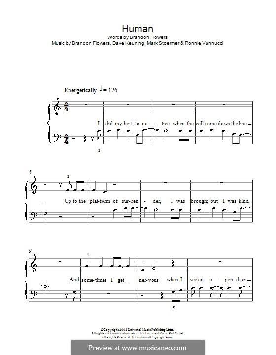 Human (The Killers): Für Klavier, leicht by Brandon Flowers, Dave Keuning, Mark Stoermer, Ronnie Vannucci