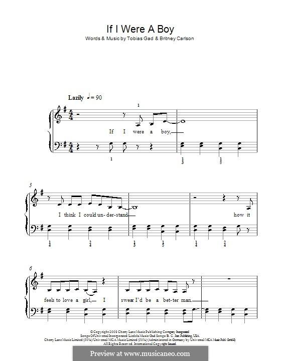If I Were a Boy (Beyonce): Für Klavier, leicht by Britney Carlson, Tobias Gad