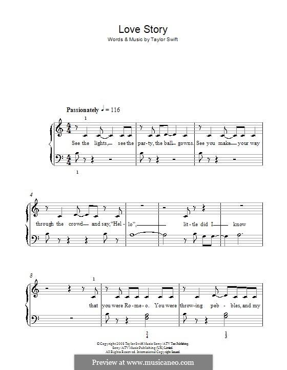 Love Story: Für Klavier, leicht by Taylor Swift