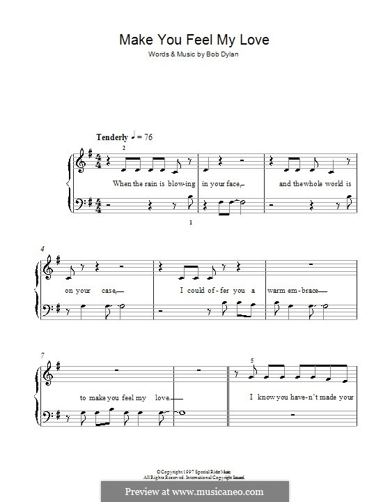 Make You Feel My Love: Für Klavier, leicht by Bob Dylan