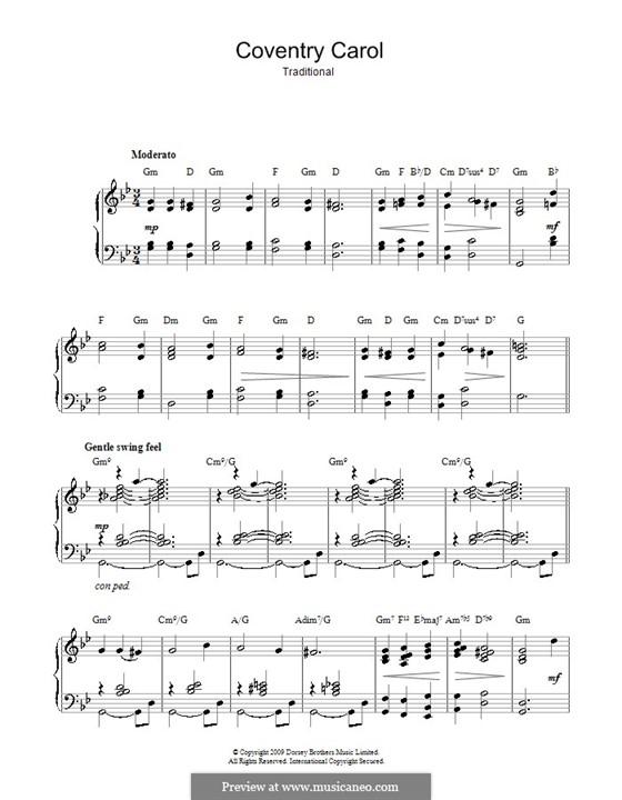 Coventry Carol: Für Klavier (mit Akkorden) by folklore