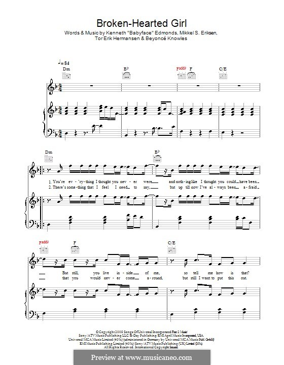 Broken-Hearted Girl: Für Stimme und Klavier (oder Gitarre) by Beyoncé, Kenneth 'Babyface' Edmonds, Mikkel Storleer Eriksen, Tor Erik Hermansen