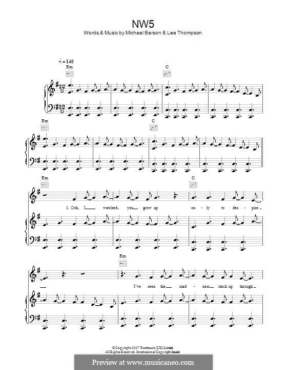 NW5 (Madness): Für Stimme und Klavier (oder Gitarre) by Lee Thompson, Mike Barson