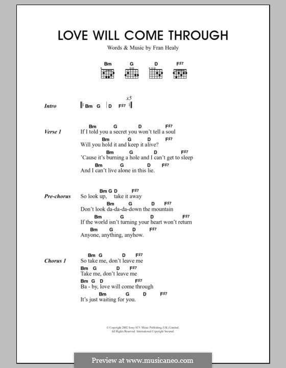 Love Will Come Through (Travis): Text und Akkorde by Fran Healy