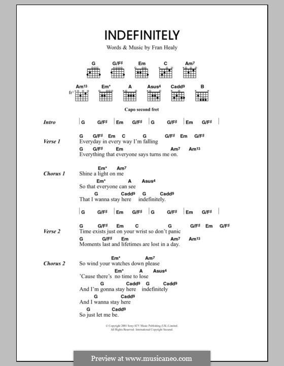 Indefinitely (Travis): Text und Akkorde by Fran Healy