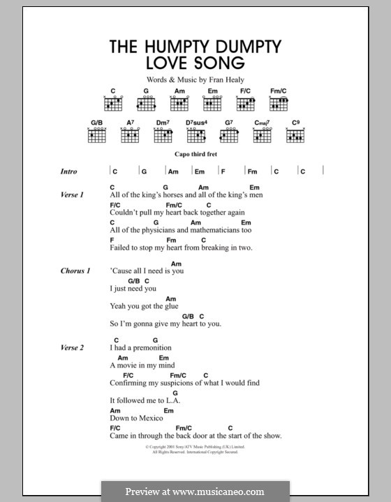 The Humpty Dumpty Love Song (Travis): Text und Akkorde by Fran Healy
