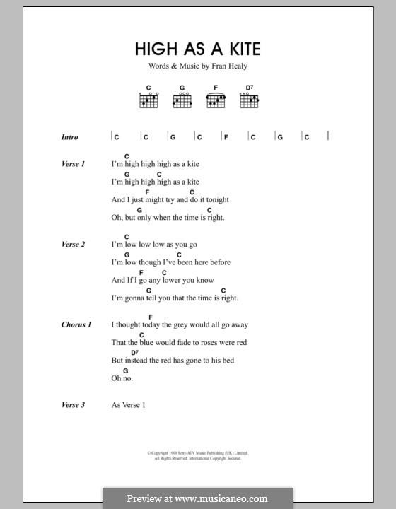 High as a Kite (Travis): Text und Akkorde by Fran Healy