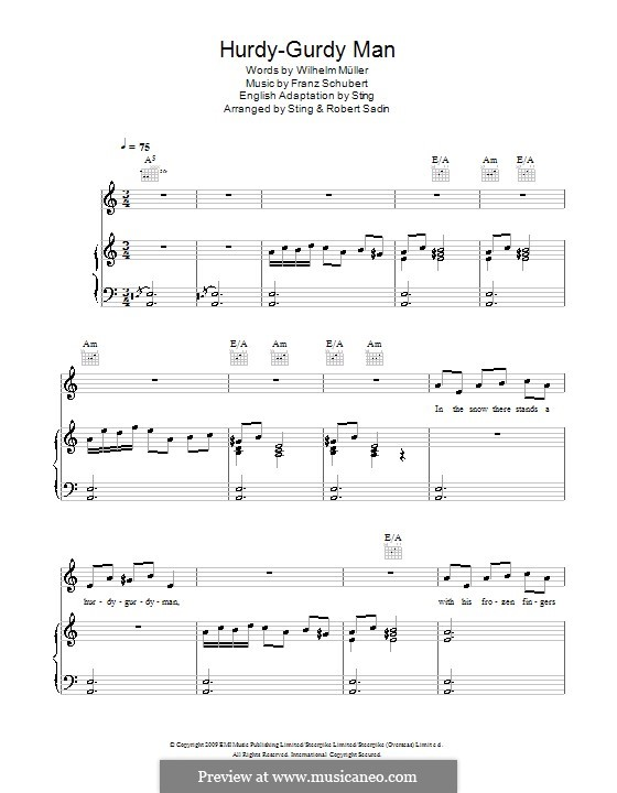 Hurdy-Gurdy Man: Für Stimme und Klavier (oder Gitarre) by Franz Schubert