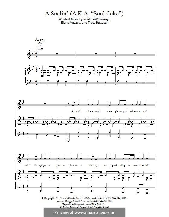 A Soalin' (Sting): Für Stimme und Klavier (oder Gitarre) by Elena Mezzetti, Noel Stookey, Tracy Batteast