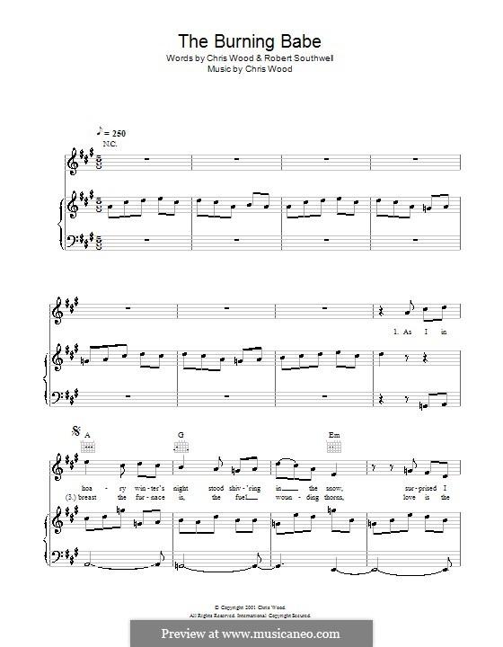 The Burning Babe (Sting): Für Stimme und Klavier (oder Gitarre) by Chris Wood
