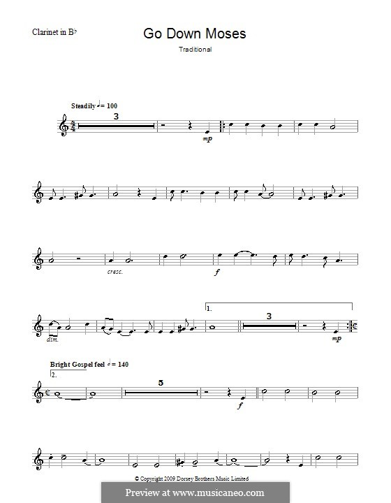 Go Down Moses: For clarinet and piano – solo part by folklore