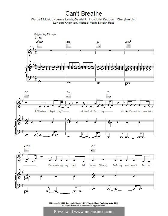 Can't Breathe: Für Stimme und Klavier (oder Gitarre) by Cheryline Lim, Gavriel Aminov, Keith Ross, Leona Lewis, Lundon Knighten, Michael Malih, Uriel Kadouch