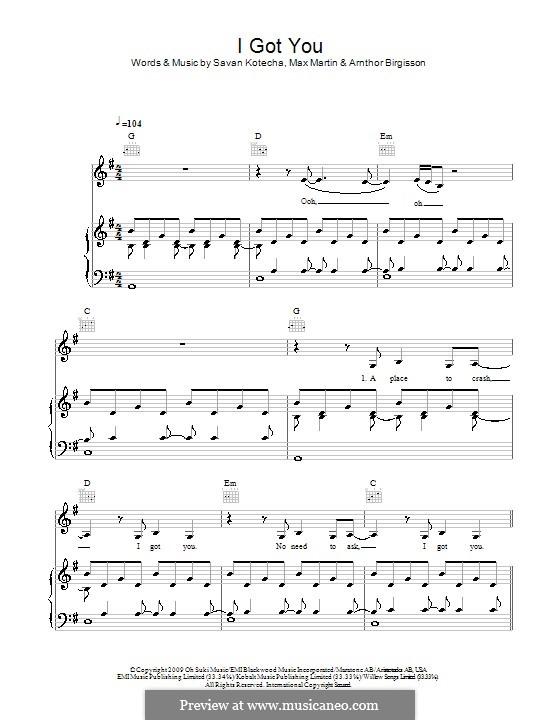 I Got You (Leona Lewis): Für Stimme und Klavier (oder Gitarre) by Arnthor Birgisson, Max Martin, Savan Kotecha