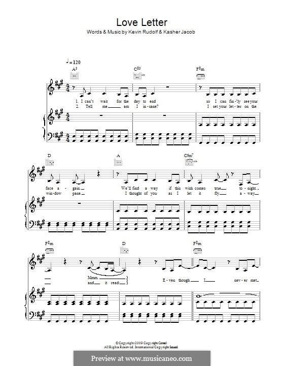 Love Letter (Leona Lewis): Für Stimme und Klavier (oder Gitarre) by Kasher Jacob, Kevin Rudolf