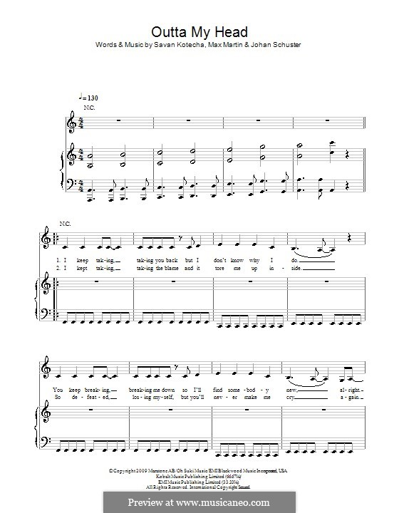 Outta My Head (Leona Lewis): Für Stimme und Klavier (oder Gitarre) by Shellback, Max Martin, Savan Kotecha