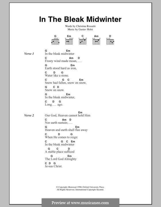 In the Bleak Midwinter: Text und Akkorde by Gustav Holst