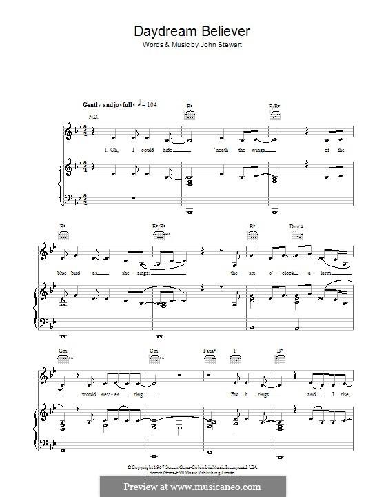 Daydream Believer (The Monkees): Für Stimme und Klavier (oder Gitarre) by John Stewart