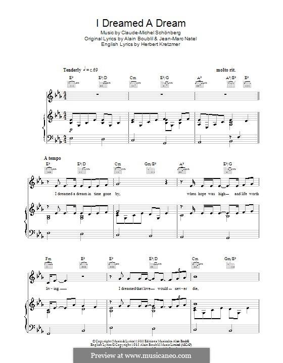 I Dreamed a Dream: Für Stimme mit Klavier oder Gitarre (Susan Boyle) by Claude-Michel Schönberg