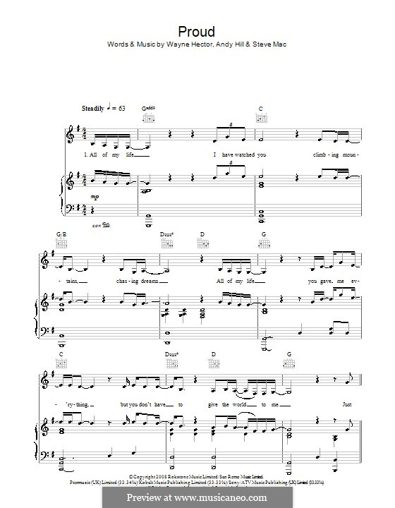 Proud (Susan Boyle): Für Stimme und Klavier (oder Gitarre) by Andrew Hill, Steve Mac, Wayne Anthony Hector