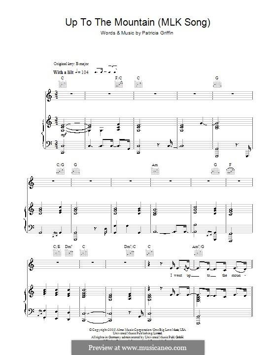 Up to the Mountain (MLK Song): Für Stimme und Klavier (oder Gitarre) by Patty Griffin