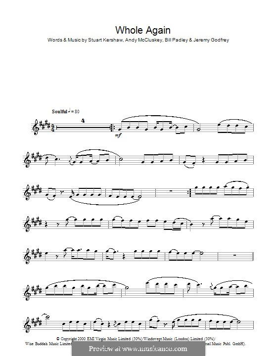 Whole Again (Atomic Kitten): Für Flöte by Andy McCluskey, Bill Padley, Jeremy Godfrey, Stuart Kershaw