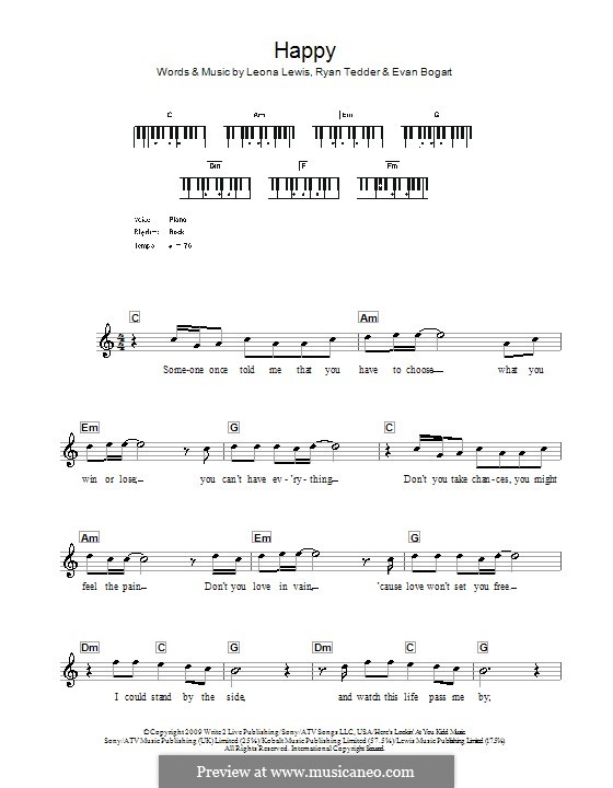 Happy: Für Keyboard by Evan Kidd Bogart, Leona Lewis, Ryan B Tedder