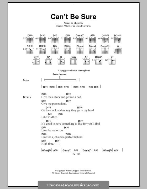 Can't Be Sure (The Sundays): Text und Akkorde by David Gavurin, Harriet Wheeler