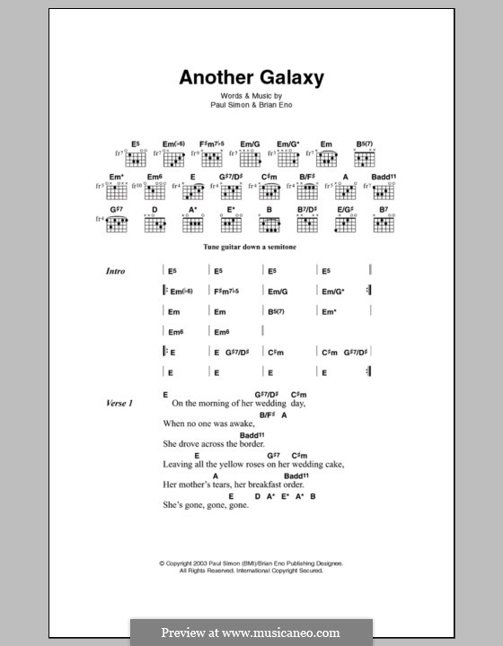 Another Galaxy: Text und Akkorde by Paul Simon