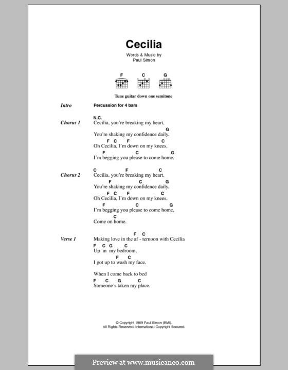 Cecilia (Simon & Garfunkel): Text und Akkorde by Paul Simon