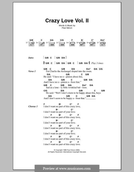 Crazy Love (Vol.II): Text und Akkorde by Paul Simon