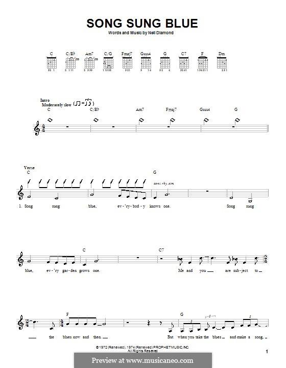 Song Sung Blue: Für Gitarre (mit Schlagmuster) by Neil Diamond
