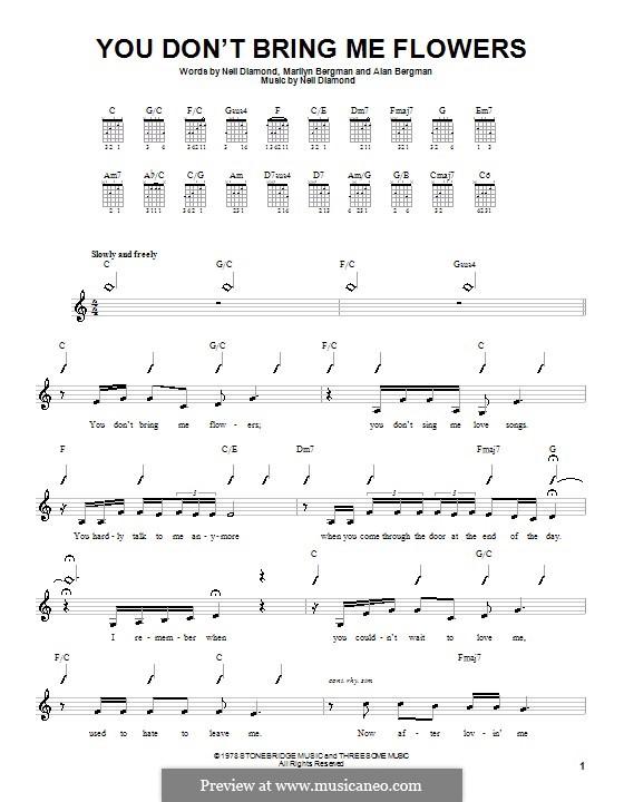 You Don't Bring Me Flowers: Für Gitarre (mit Schlagmuster) by Neil Diamond