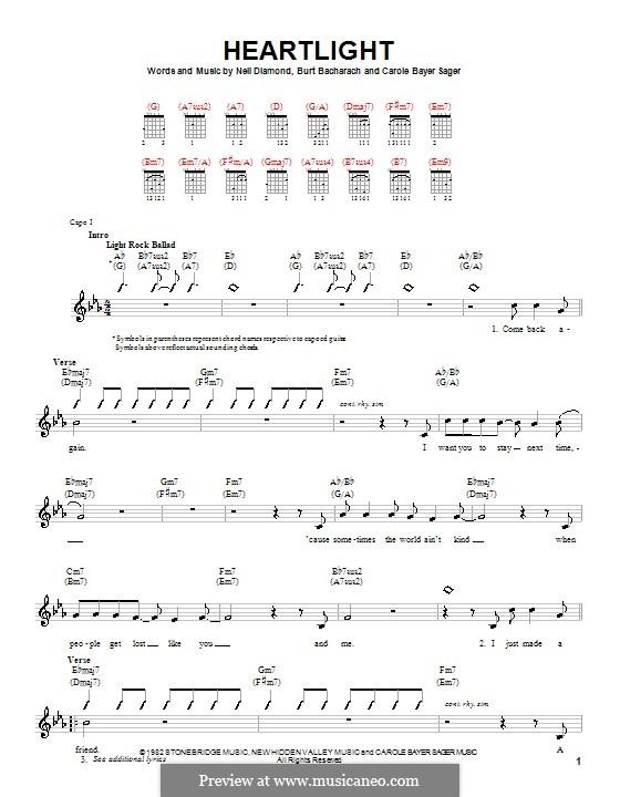 Heartlight: Für Gitarre (mit Schlagmuster) by Burt Bacharach, Carole Bayer Sager, Neil Diamond